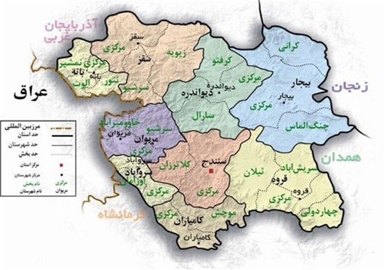 نقشه شهر سنندج